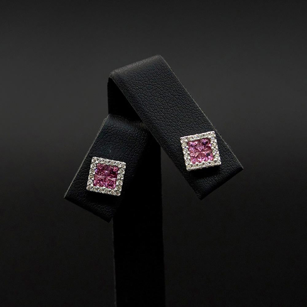 9ct Yellow Gold Square Ruby and Diamond Halo Studs, sold at Nouveau Jewellers in Manchester