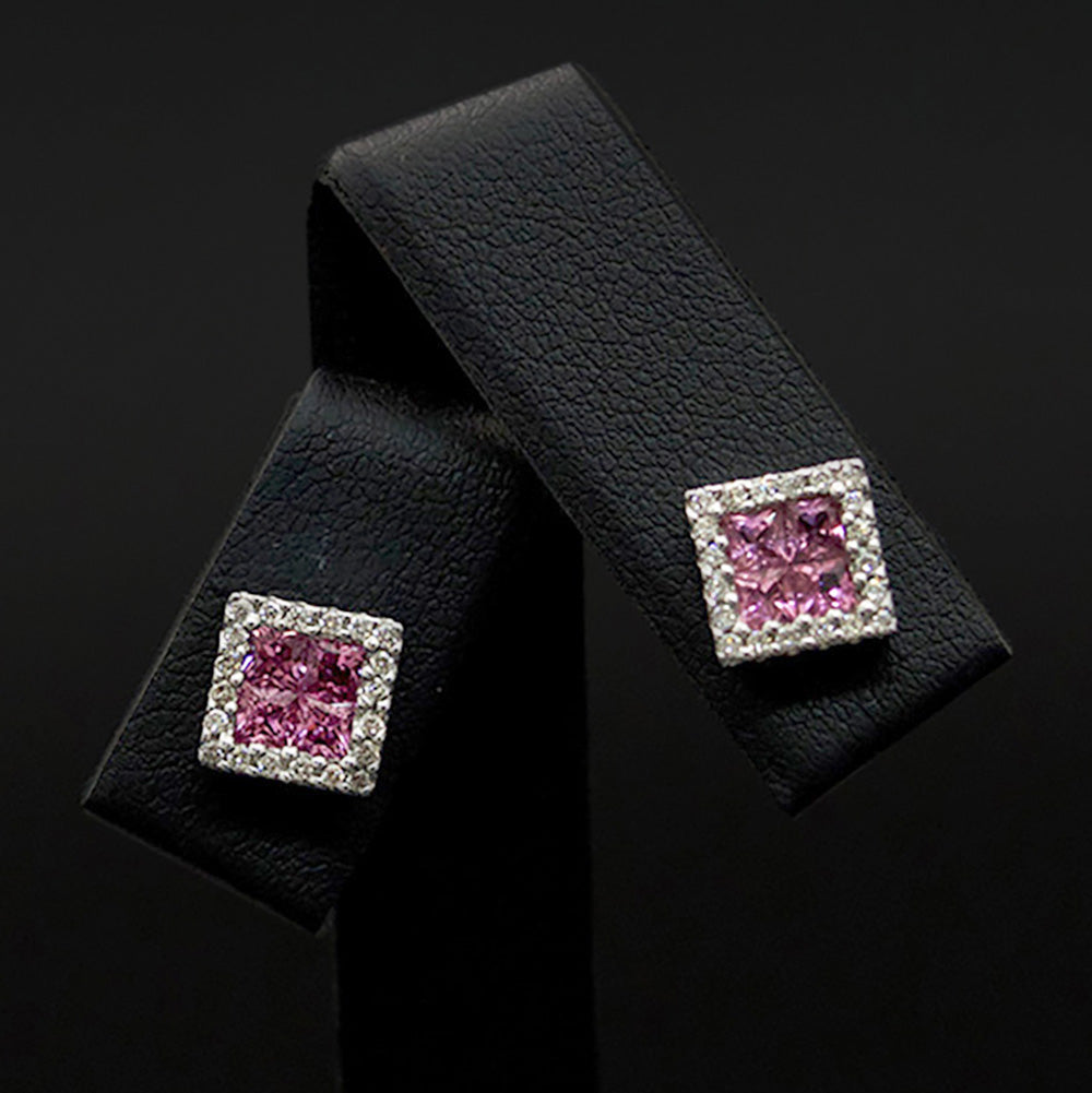 9ct Yellow Gold Square Ruby and Diamond Halo Studs close up, sold at Nouveau Jewellers in Manchester