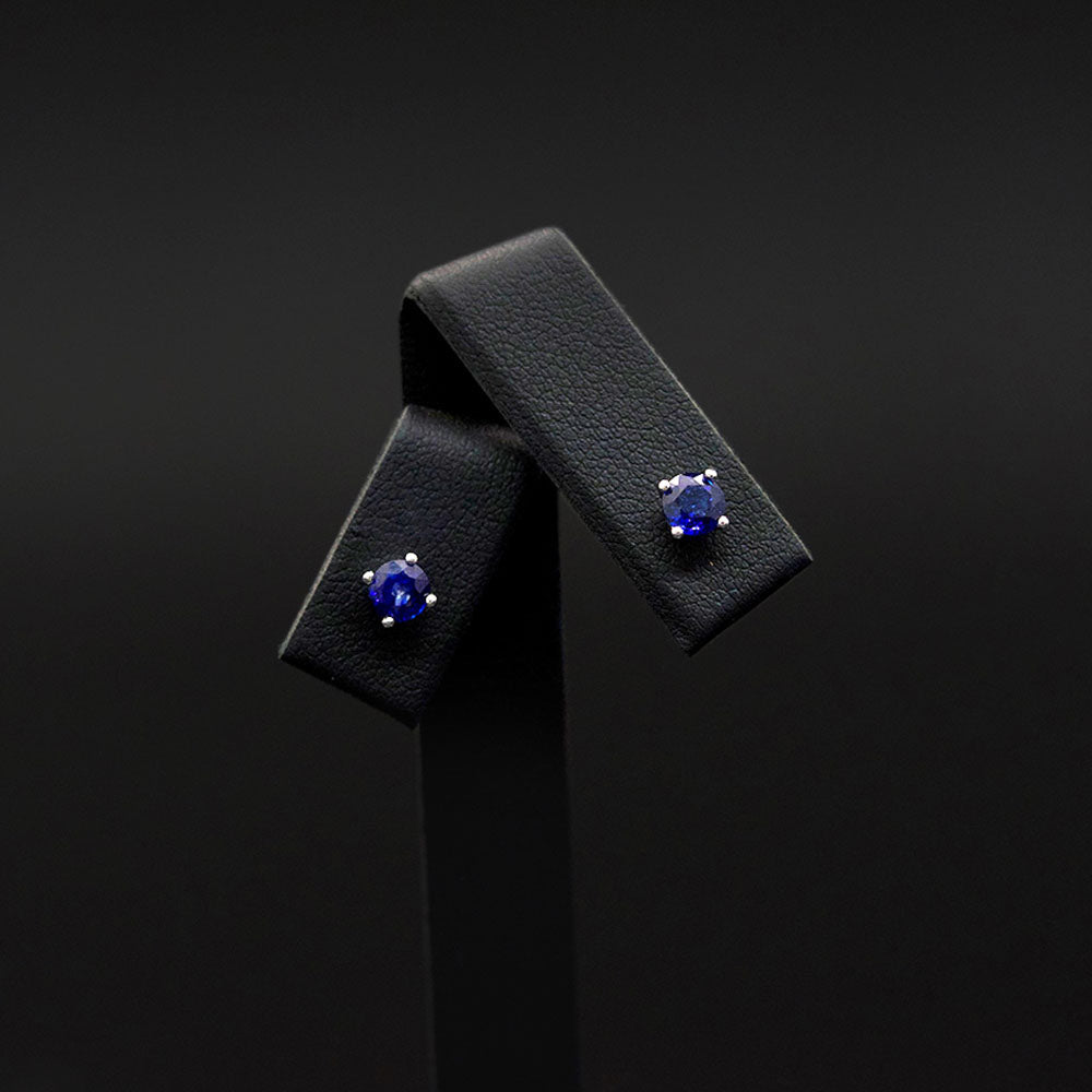 18ct White Gold Royal Blue Sapphire Stud Earrings, sold at Nouveau Jewellers in Manchester