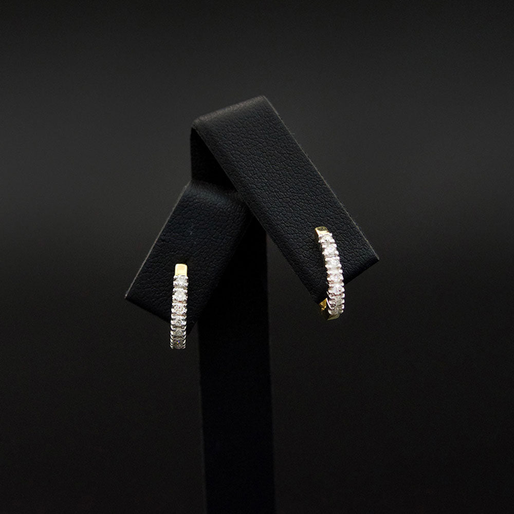 9ct White Gold Diamond Huggie Earrings, sold at Nouveau Jewellers in Manchester