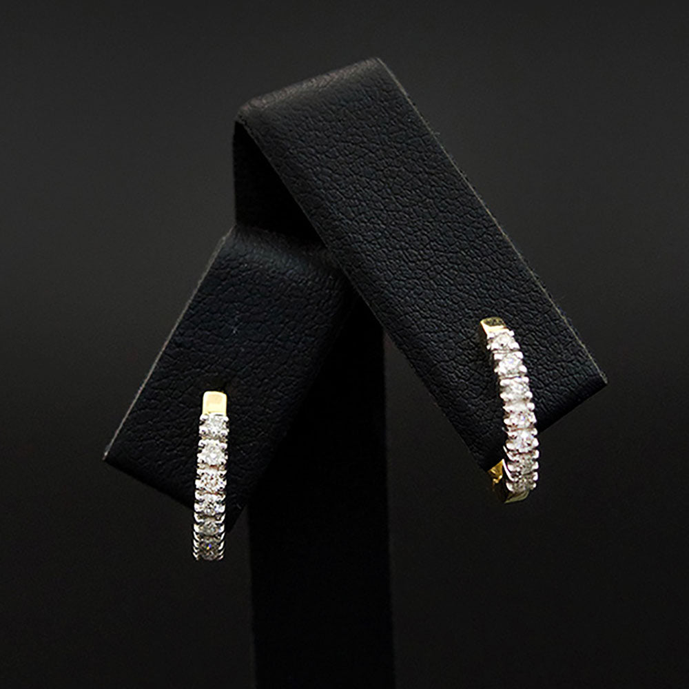 9ct White Gold Diamond Huggie Earrings Close Up, sold at Nouveau Jewellers in Manchester