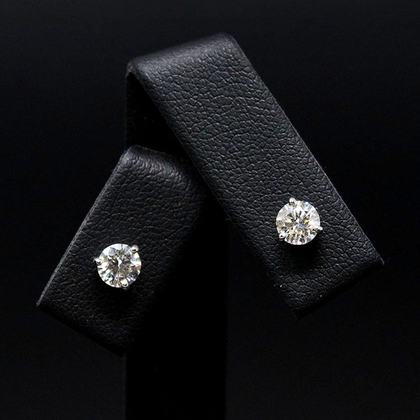 18ct White Gold Signature Diamond Stud Earrings close up, sold at Nouveau Jewellers in Manchester