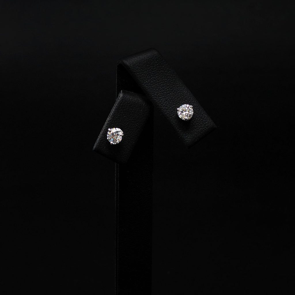 18ct White Gold Signature Diamond Stud Earrings side profile, sold at Nouveau Jewellers in Manchester
