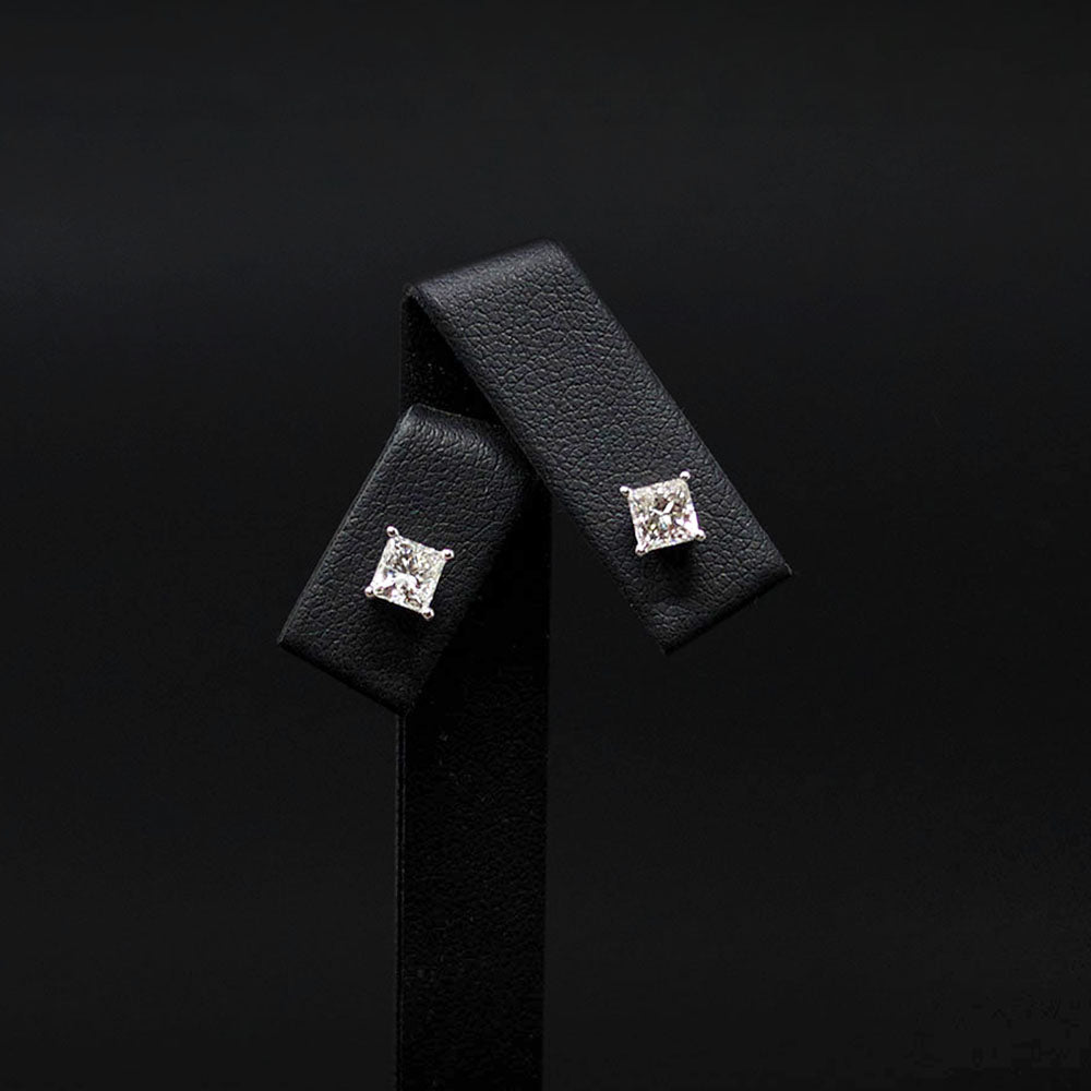 18ct White Gold Signature Princess Cut Diamond Stud Earrings, sold at Nouveau Jewellers in Manchester