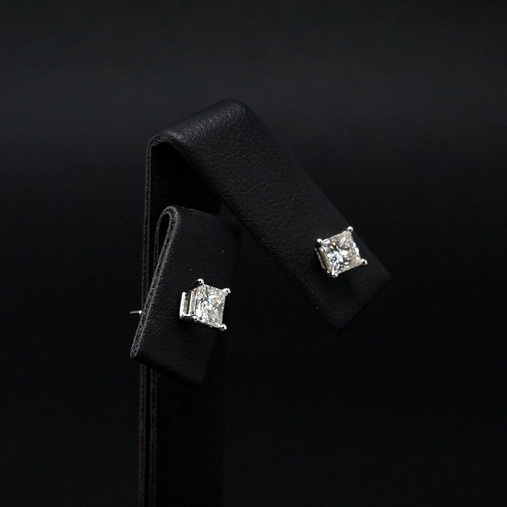 18ct White Gold Signature Princess Cut Diamond Stud Earrings side profile, sold at Nouveau Jewellers in Manchester