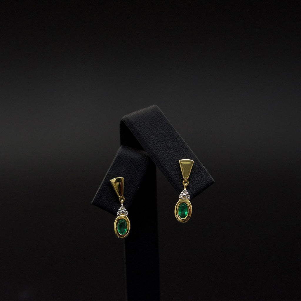 Gold, Emerald and Diamond Pendant Earrings, sold at Nouveau Jewellers in Manchester