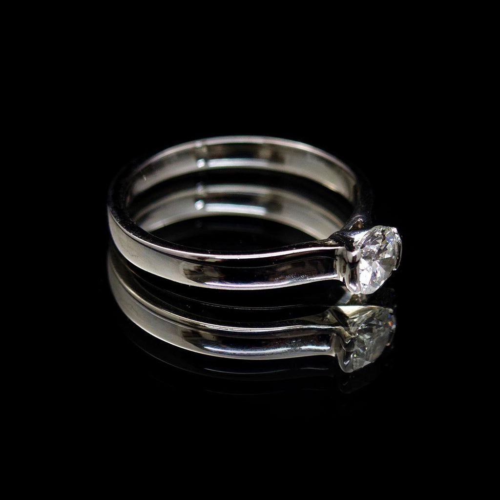 Classic Diamond Engagement Ring side profile, sold at Nouveau Jewellers in Manchester