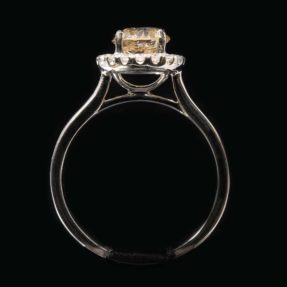 Platinum Halo Yellow Diamond Engagement Ring full profile, sold at Nouveau Jewellers in Manchester