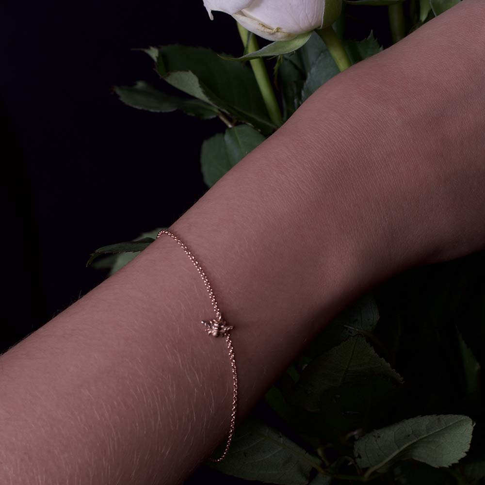 Rose gold manchester bee bracelet, beehive collection, nouveau jewellers, manchester jewellers