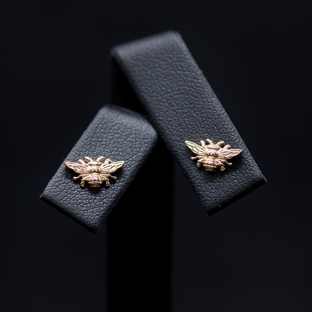 Rose Gold Manchester Bee Studs close up, Beehive Collection exclusively sold at Nouveau Jewellers in Manchester