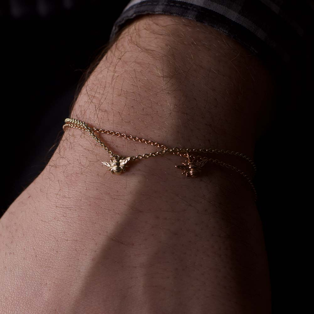 Beehive collection, gold manchester bee bracelet, nouveau jewellers, bee jewellery, manchester bee