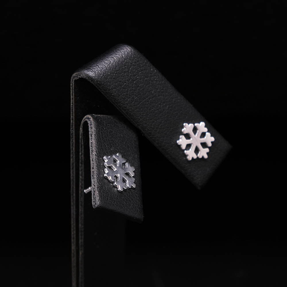 925 Silver Snowflake Stud Earrings side profile, sold at Nouveau Jewellers in Manchester