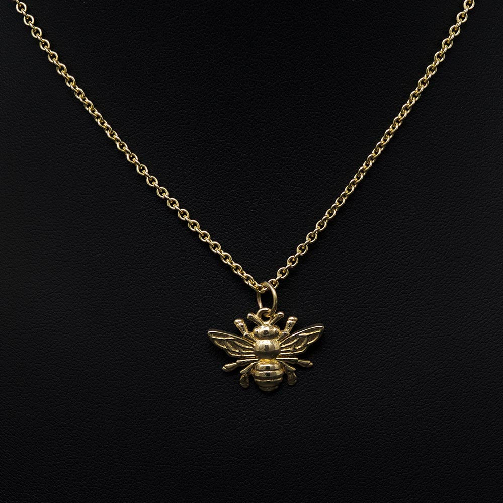 Beehive collection, nouveau jewellers, manchester bee jewellery, solid gold bee necklace