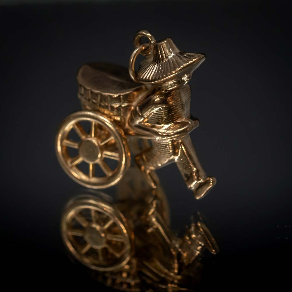 Nouveau Jewellers, once treasured, vintage charms, Solid Gold Chinese Rice Field Worker Charm