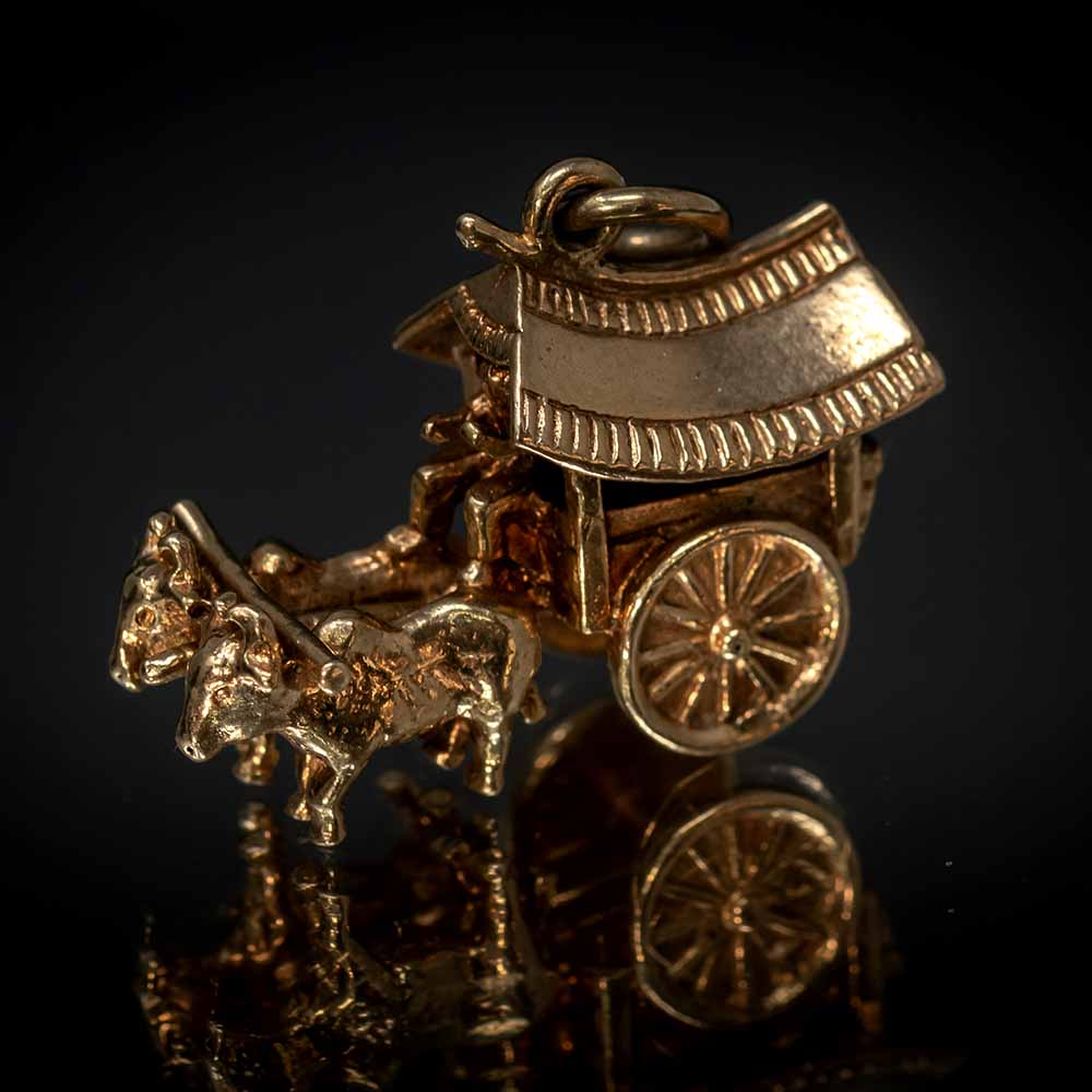 Nouveau Jewellers, Charms and charm bracelets, vintage charms, Oxen and Cart Gold Charm