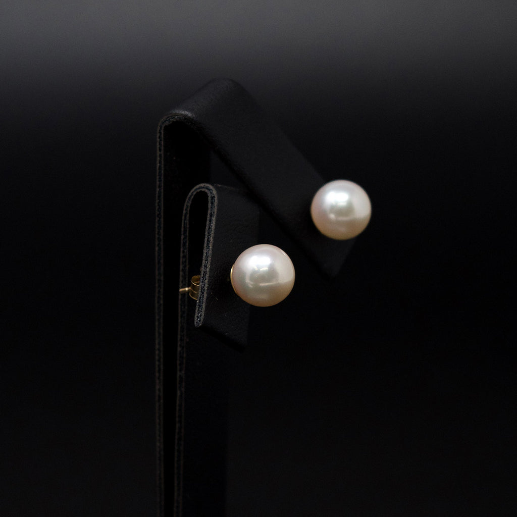 18ct White Gold Pearl Stud Earrings side profile, sold at Nouveau Jewellers in Manchester