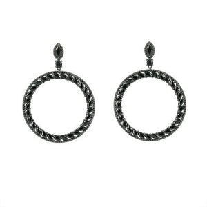 CERCEI ROYAL CRYSTAL HOOPS - BLACK