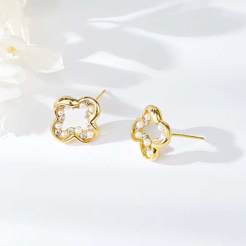 GOLD PLATED WHITE STUD EARRINGS