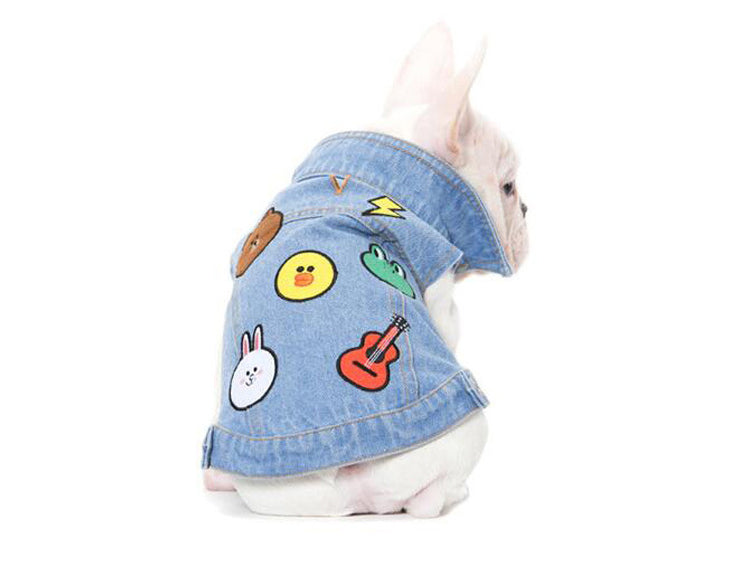 Frenchie Emoji stitched Denim Vest