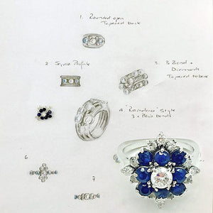 Three band ring sketch with original ring