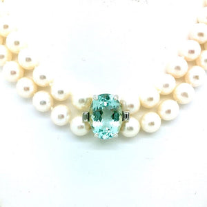 AAA quality Pearl, Diamond and Aquamarine Choker