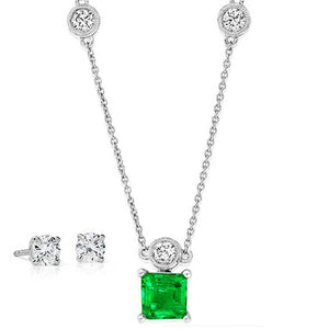 Competed Diamond Stud Earrings and Emerald Necklace
