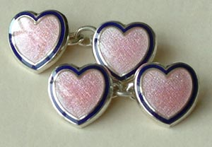 Enamel Heart Cufflinks Pink with Navy Rim