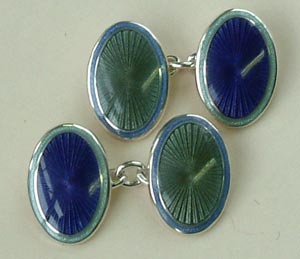 Enamel and Silver Oval Heather/Moss Cufflinks