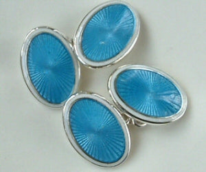 Enamel Oval Sky Blue and White Enamel Cufflinks