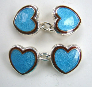 Enamel Heart Cufflinks Blue with Cherry Red Edge
