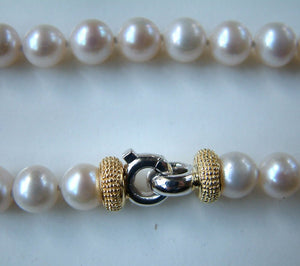 Cultured Freshwater Pearl Necklace With Matching Bracelet Silver And Gold Plated Clasp