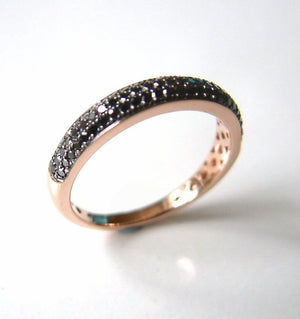 Black Diamond Pave Set 9Ct Rose Gold Ring