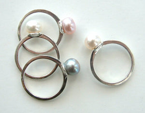 Pearl Ring on Silver