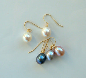 Pearl Drops on Gold Hooks