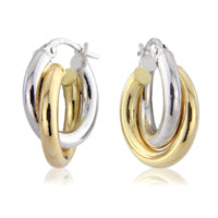Double Two Colour Gold Hoop Earrings