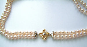 Double Pearl Necklace with Flower Clasp