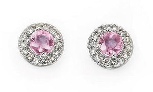 Pink Sapphire and Diamond Stud Earrings - Available End January 2021