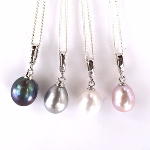 Pearl Drop on Silver Chain