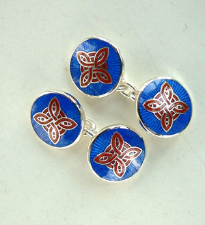 Enamel and Silver Ludo Double Ended Cufflinks