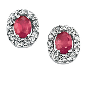 Ruby and Diamond Oval Stud Earrings
