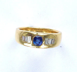 Blue Sapphire and Diamond 18 Carat Gold Ring