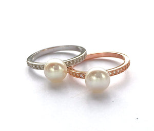 Pearl & CZ Silver Ring