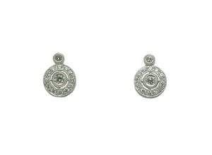 Diamond round drop earrings