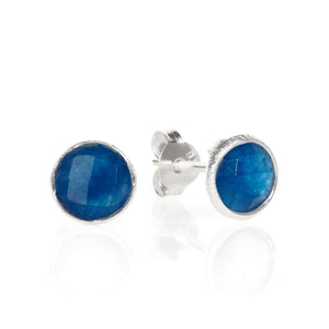 Suri Medium Round Gem Silver Stud Earrings