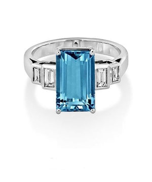 Aquamarine and Baguette Cut Diamond Ring