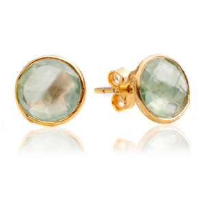 Suri Medium Round Gem Stud Gold Earrings