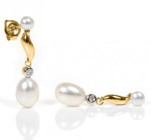 Pearl Gold and Diamond Drop Earrings