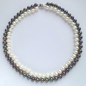 2 Strand Peacock White Pearl Necklace