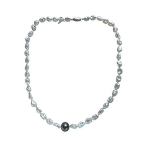 White Keshi and Tahitian Pearl Necklace