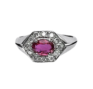 Ruby & Diamond Hexagon Ring